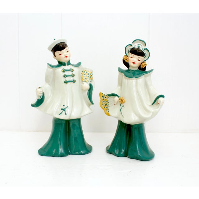 Art Deco Vintage Florence Ceramics Asian and & Woman Figurines - a Pair For Sale - Image 3 of 8