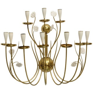 Large Scale 1950's Italian Brass Candle Sconce For Sale