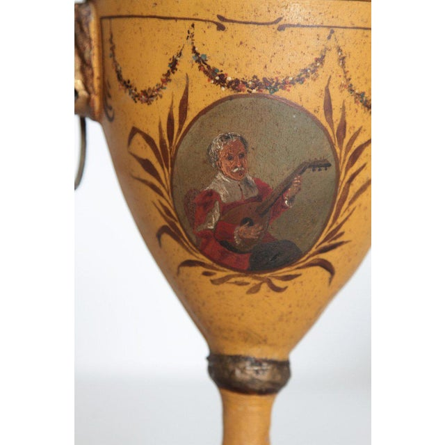 Early 19th Century A Pair of English Regency Tole Painted Chestnut Urns For Sale - Image 5 of 13