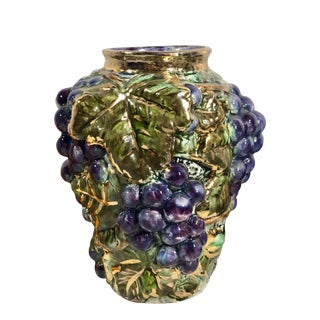 Vintage Hand Made Garland Ceramics Vase With Grapes and Gold For Sale