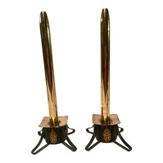 Mediterranean Wrought Iron & Brass Oil Candles- A Pair For Sale