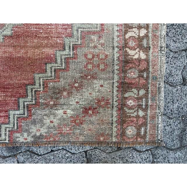 Oushak Handmade Distressed Antique Floor Carpet For Sale - Image 9 of 11