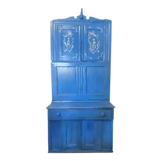 Dana Gibson Blue Cupboard With Desk For Sale