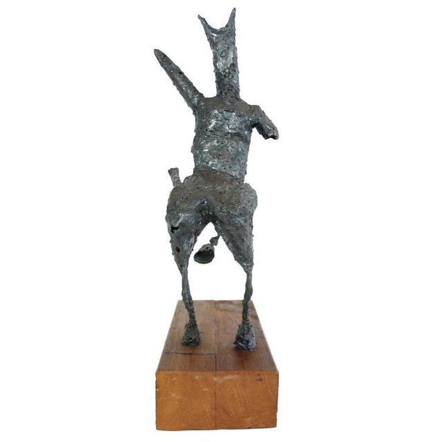 Steel Centaur Sculpture on Wood Base For Sale - Image 10 of 10