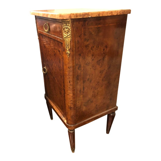 Image of French Marble Top Commode Marquetry Inlay Nightstand