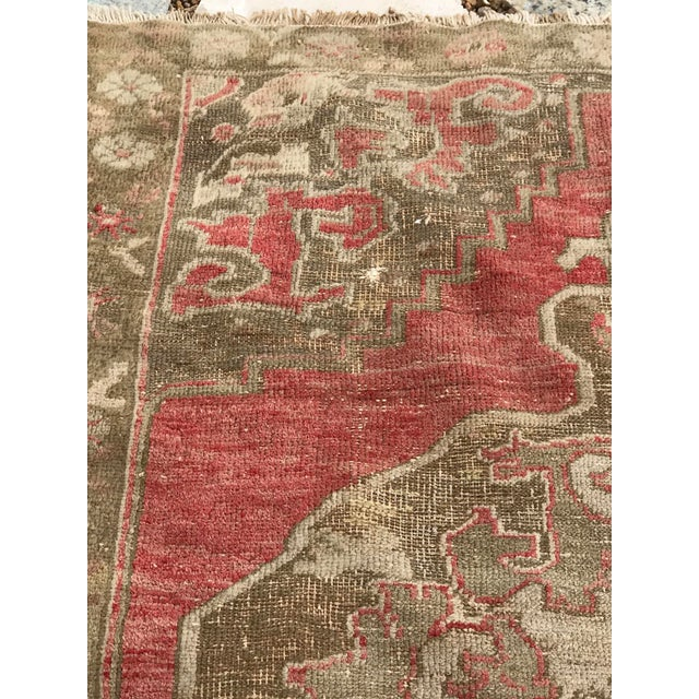 """Hand Made Vintage Turkish Distressed Area Rug- 3'10""""x5'10"""" For Sale - Image 4 of 7"""