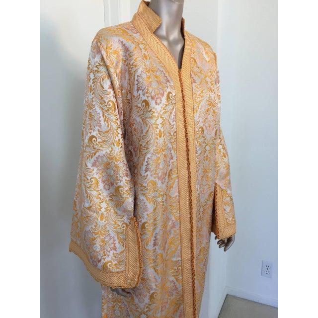 Metallic gold brocade maxi dress kaftan handmade by Moroccan artist. Handmade Vintage exotic 1970s gold metallic brocade...