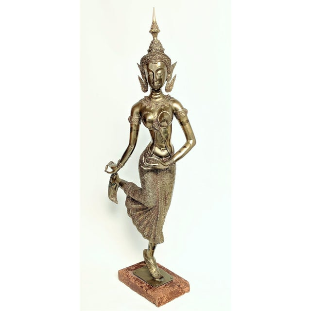 Thai Goddess Brass Sculpture For Sale - Image 13 of 13
