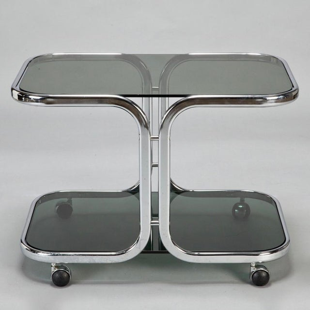 Mid-Century Italian Black Glass Chrome Bar Cart, Serving Trolley For Sale In Detroit - Image 6 of 6