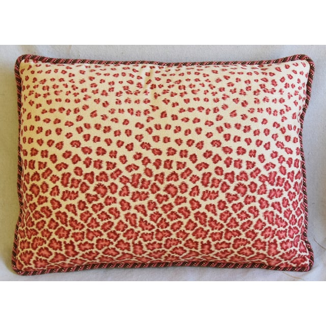 "Abstract Colefax & Fowler Leopard Print & Chenille Feather/Down Pillows 22"" X 16"" - Pair For Sale - Image 3 of 13"