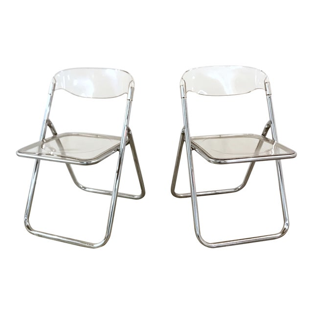 Italian Chrome & Lucite Folding Chairs Pair For Sale