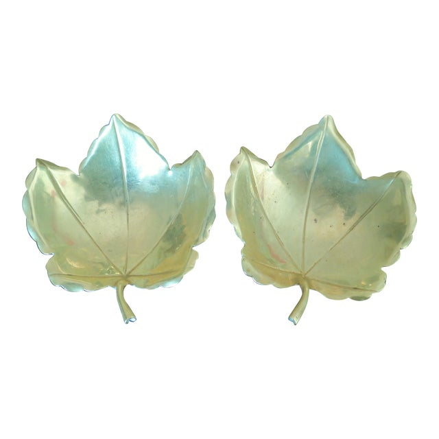 Handmade Brass Maple Leaf Serving Dishes - A Pair For Sale