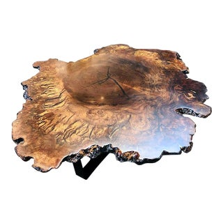 Large Contemporary Black Walnut Burl Wood Coffee Occasional Table With Mid Century Modern Legs For Sale