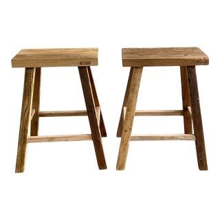 Vintage Elm Wood Stool or Pedestal For Sale