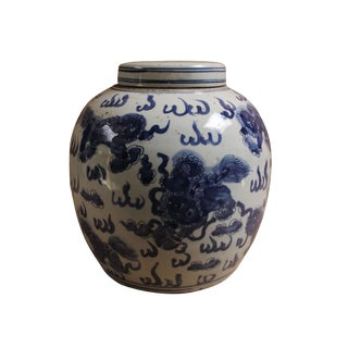 Chinese Oriental Blue White Porcelain Foo Dogs Ginger Jar Large For Sale