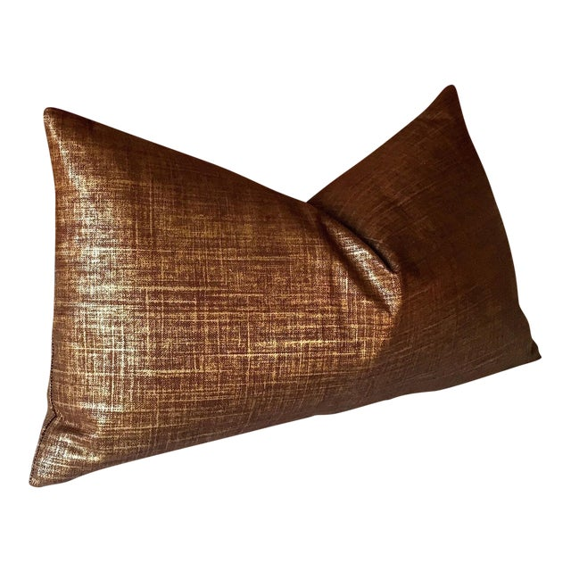 Copper & Gold Metallic Linen Pillow Cover - Image 1 of 4