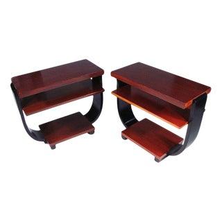 Brown Saltman Art Deco Three-Tier Side Tables For Sale