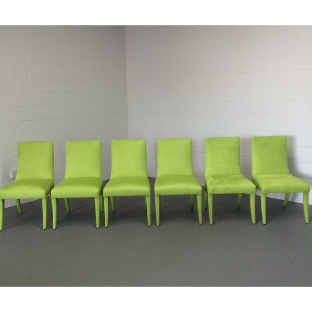 Mid Century Lime Dining Chairs - Set of 6 - Image 5 of 9