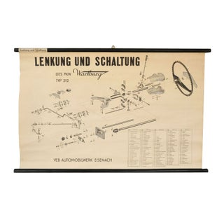German Automotive Linen Rolled Chart I For Sale