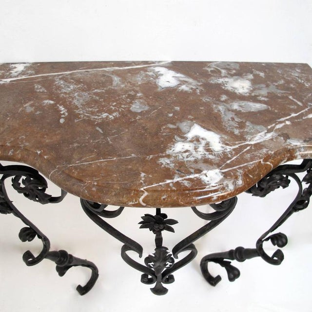 19th Century French Wrought Iron and Marble Console Table - Image 5 of 8