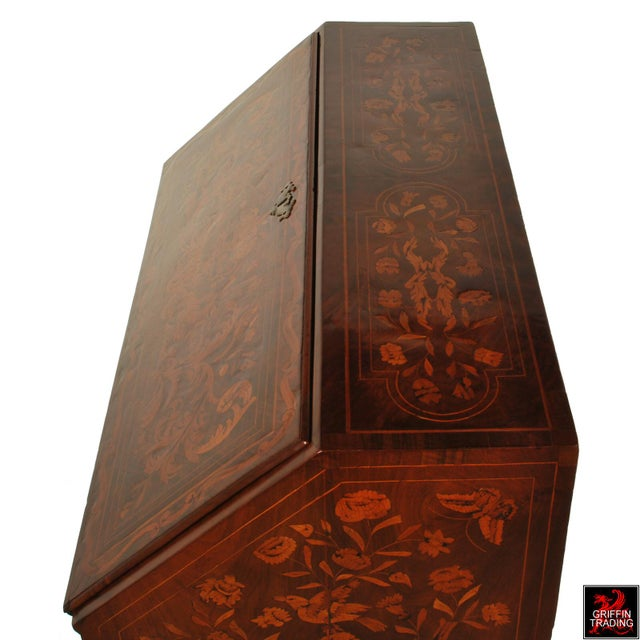 Late 18th Century Fine Dutch Marquetry Drop Front Secretary / Desk For Sale - Image 5 of 13