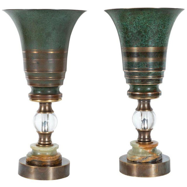 Art Deco Skyscraper Urn Form Patinated Bronze, Brass & Marble Uplights - a Pair For Sale - Image 10 of 10