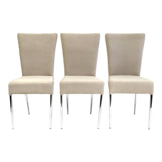 Fluted Italian Side Chairs, Greige Upholstered Fabric & Chrome Legs - Set of 3