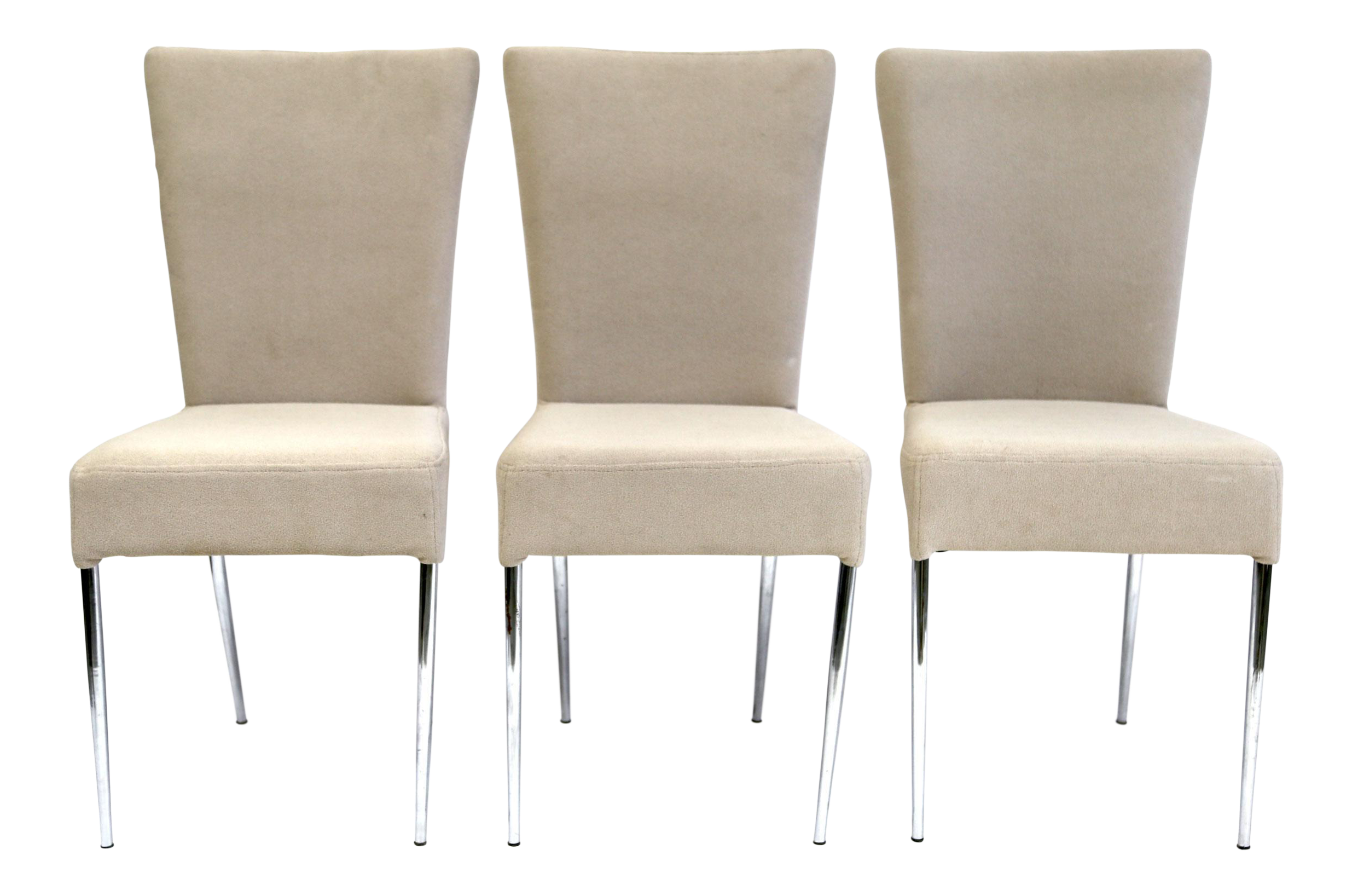 Fluted Italian Side Chairs, Greige Upholstered Fabric U0026 Chrome Legs   Set  Of 3 For