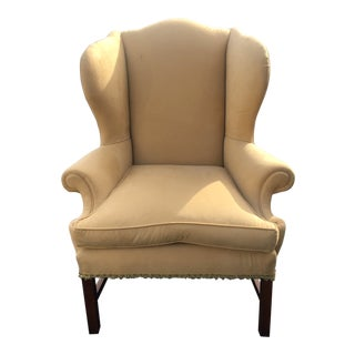 Ultra Suede Upholstered Wing Chair For Sale