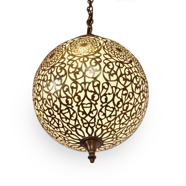 Moroccan Vintage Brass & Frosted Globe Pendant For Sale - Image 3 of 5