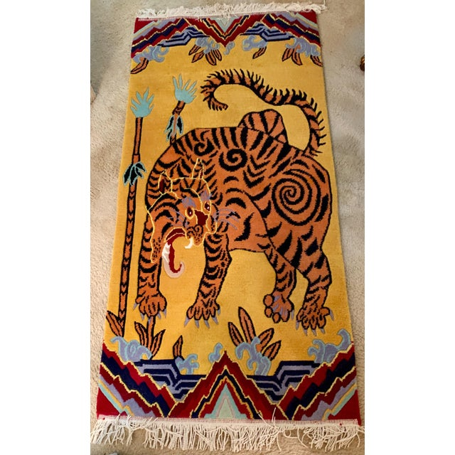Textile Hand Knotted Indian Wool Tiger Rug, 4' X 6' For Sale - Image 7 of 7