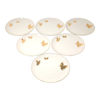 Vintage Takahashi Ceramic Salad Plates With Gold Butterflies and Trim For Sale