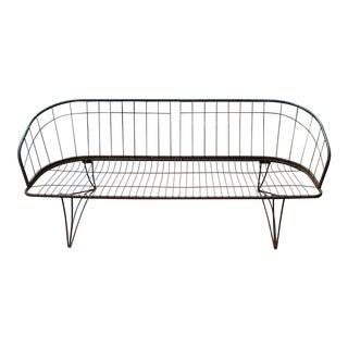 Mid Century Modern Curved Iron Patio Bench Settee Woodard Era 1960s For Sale