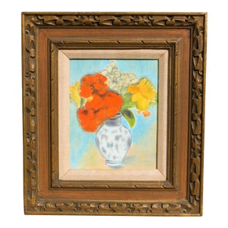 Vintage Framed Naïve Still Life Painting on Canvas Board For Sale