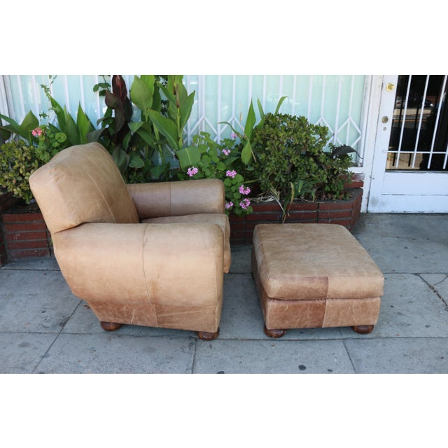 1970s Vintage Leather Club Chair and Ottoman Set For Sale - Image 5 of 8