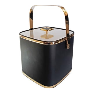 1970s Culver Black and Gold Ice Bucket For Sale