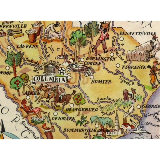 Vintage South Carolina Map.Vintage South Carolina Pictorial Map 1946 Chairish