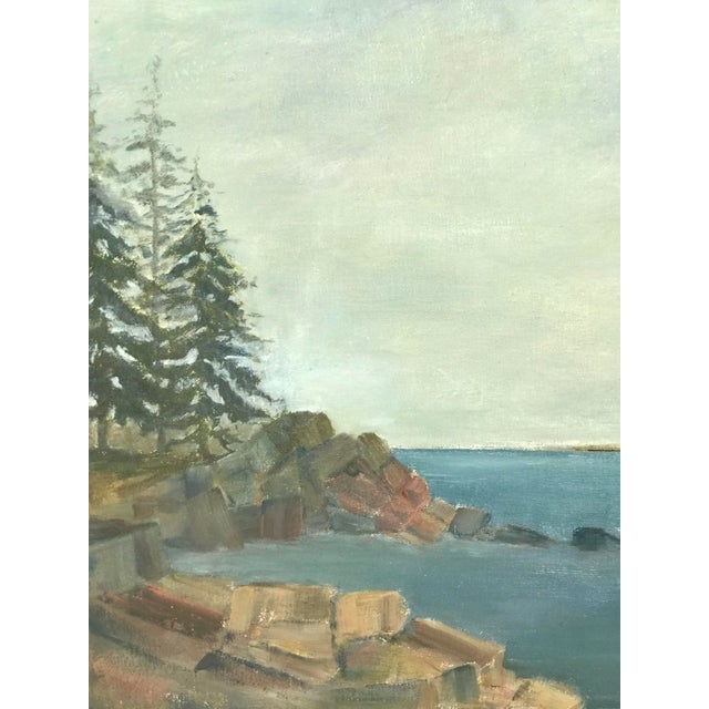This is a vintage in plein air painting. Scene is of the ocean with a small island in the background and trees and rocky...