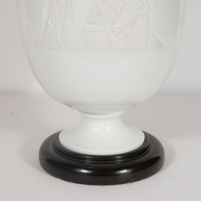 Art Deco French Art Deco White Glass Table Lamp and Uplight with Greco Roman Figures For Sale - Image 3 of 11
