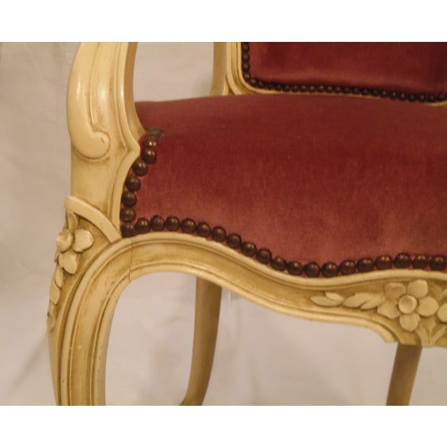 Antique Ivory Louis XV Style Low Back Fauteuil - Image 7 of 7