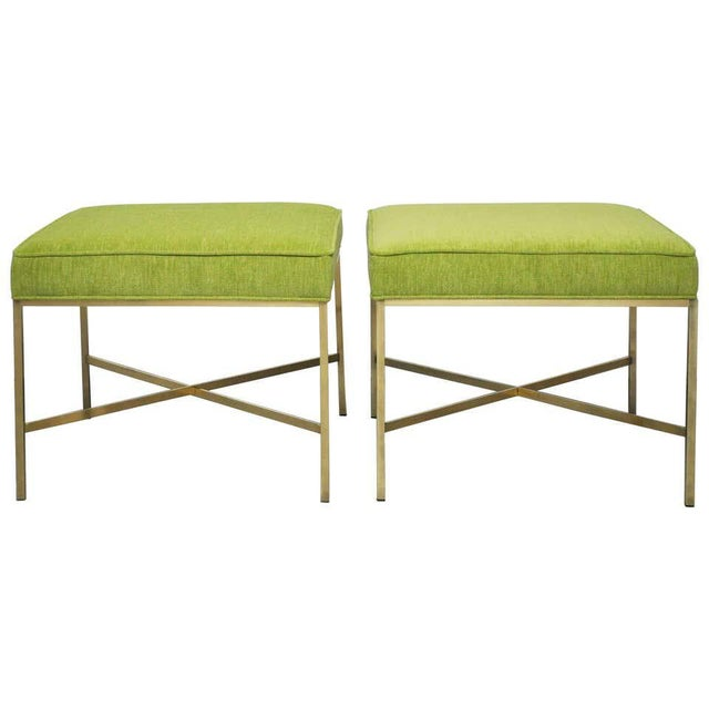 Metal Brass X-Base Stools by Paul McCobb- A Pair For Sale - Image 7 of 7