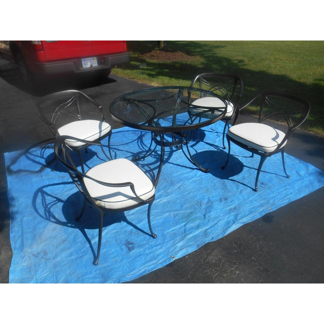"""This super Brown Jordan """"Classic II"""" pattern cast aluminum 5 piece patio set has been completely restored. Professionally..."""
