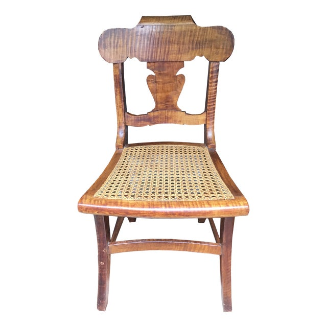 Antique Early American Folk Art Tiger Maple Side Chair For Sale