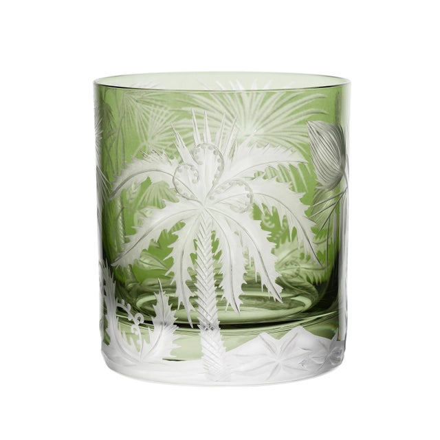 Illustration ARTEL Primeval Palms Double Old Fashioned Glass in Khaki Green - Set of 6 For Sale - Image 3 of 7