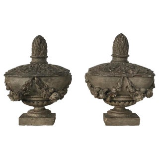 Mid 18th Century Antique Hand Carved Urns - A Pair For Sale