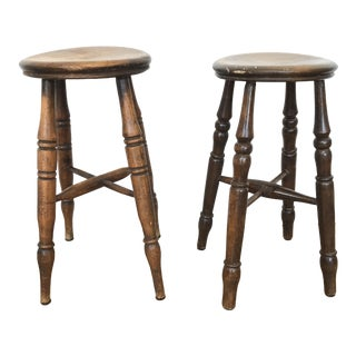 Vintage Wooden Stools- a Pair