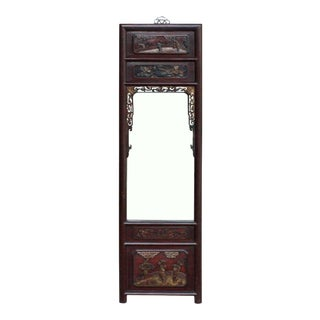 Chinese People Scenery Carving Wood Frame Wall Mirror