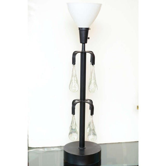 Boda Smide Unusual Erik Hoglund Iron and Blown Teardrop Glass Lamp For Sale - Image 4 of 9