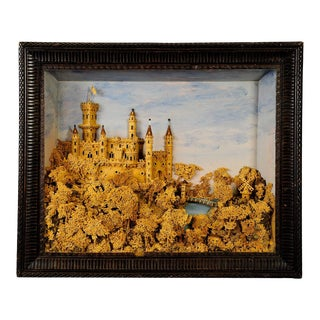 Antique Impressive Cork Carving With Castle Scene Ca. 1880 For Sale