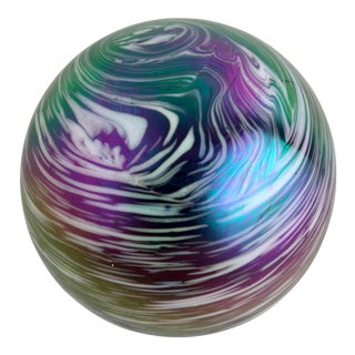1970s Iridescent Art Glass Paper Weight For Sale
